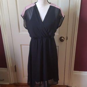 Vintage black dress with pink detail S